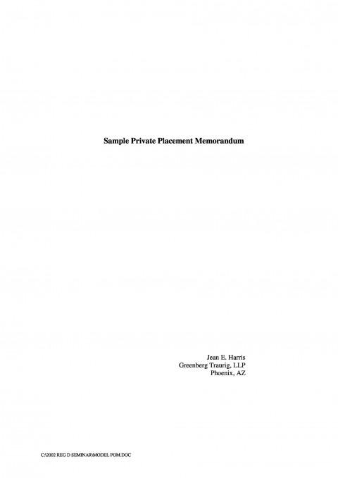 002 Magnificent Free Private Placement Memorandum Template Concept 480