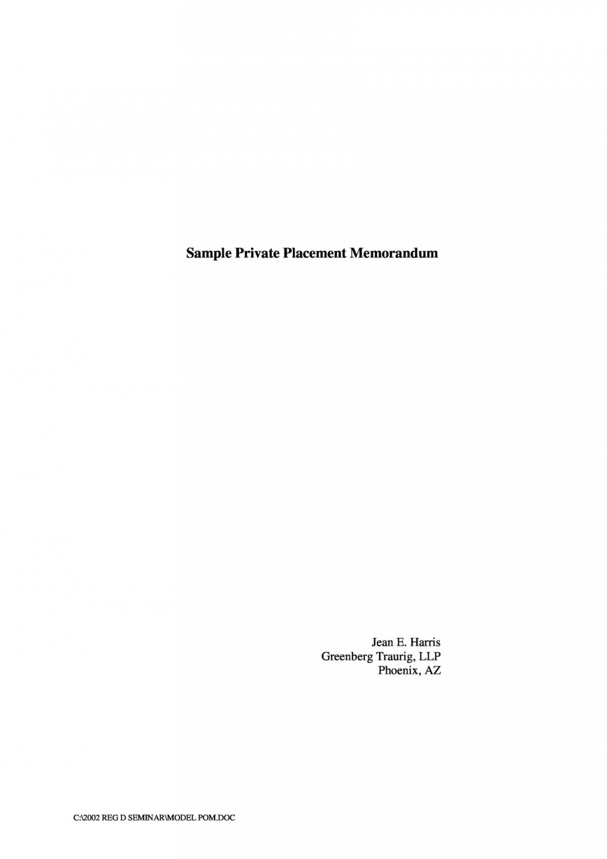 002 Magnificent Free Private Placement Memorandum Template Concept