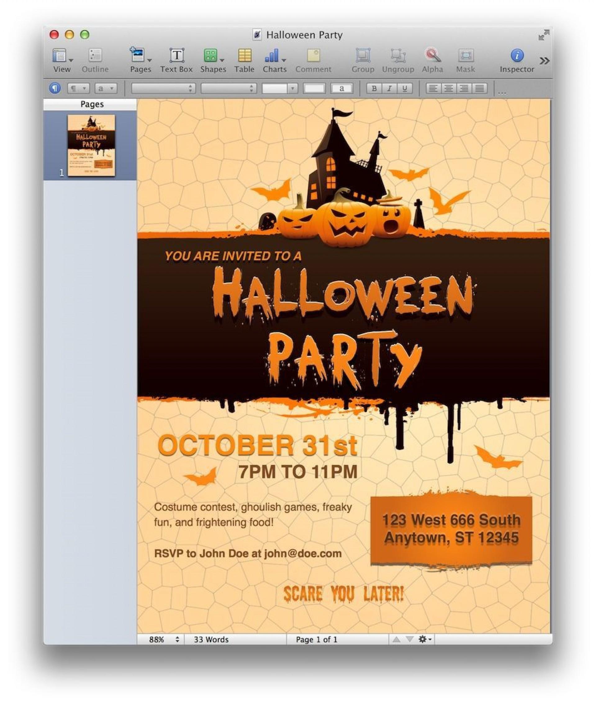 002 Magnificent Halloween Invitation Template Microsoft Word Highest Clarity  Birthday Free1920