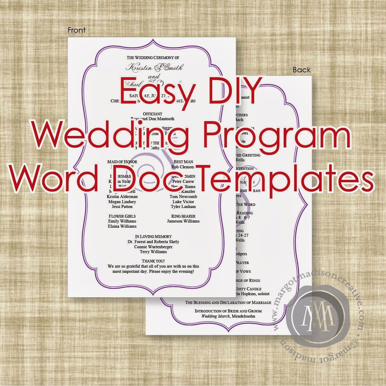 Word Wedding Program Template from www.addictionary.org