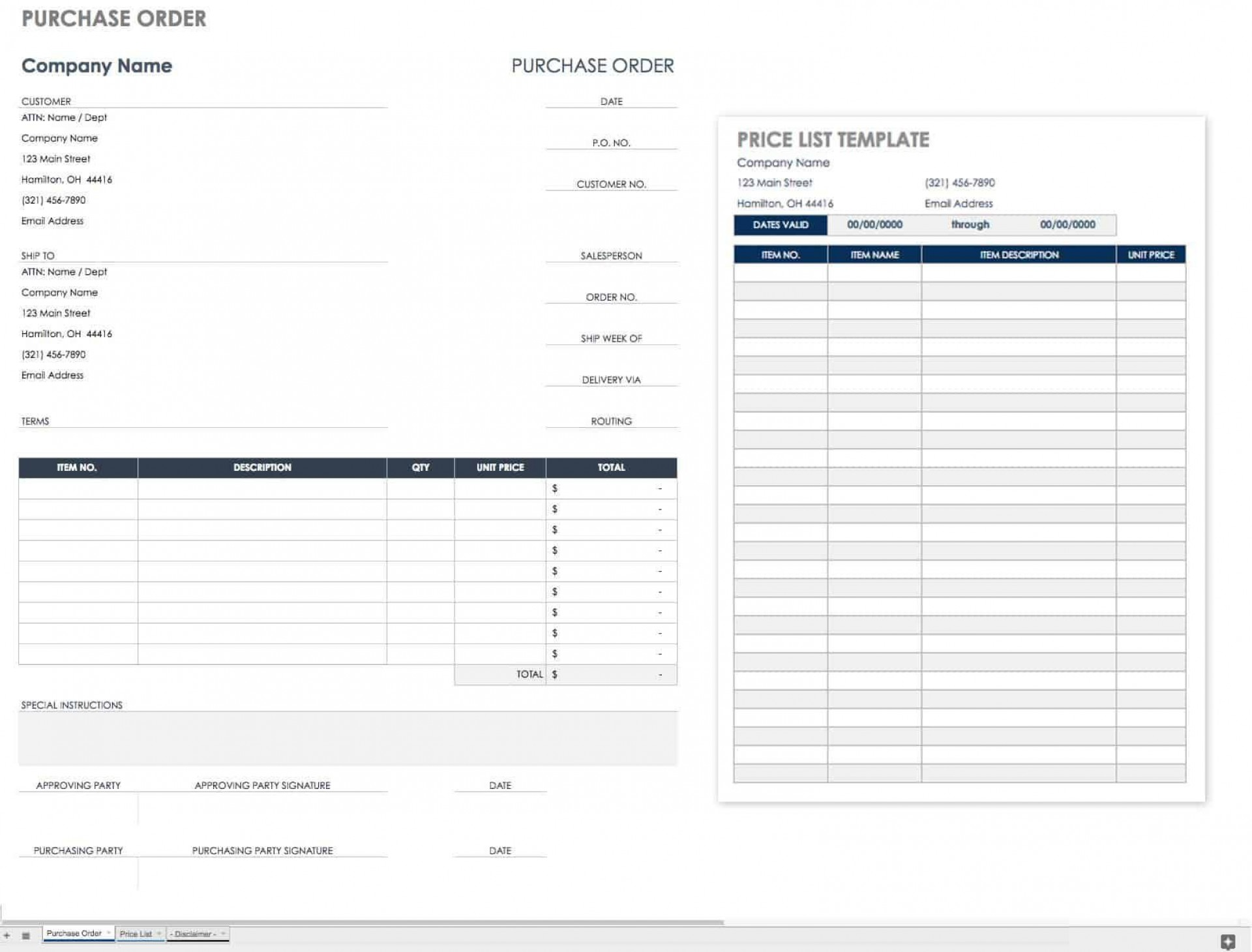 002 Magnificent Purchase Order Form Template Example  Templates Free Sample Download Online1920