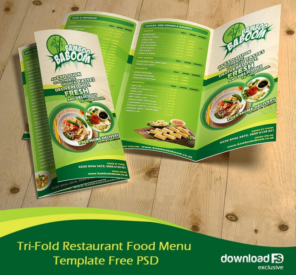 002 Magnificent Tri Fold Menu Template Free Design  Wedding Tri-fold Restaurant Food Psd Brochure Cafe Download960