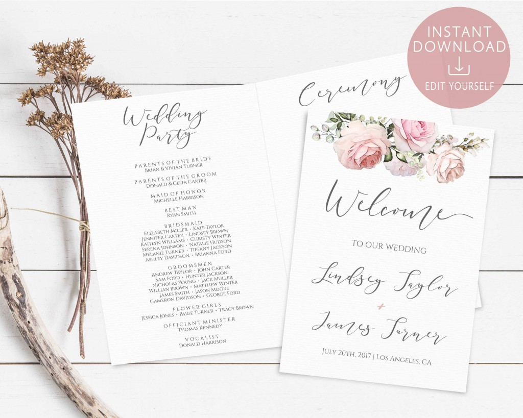 002 Magnificent Wedding Order Of Service Template Pdf Highest Quality Large