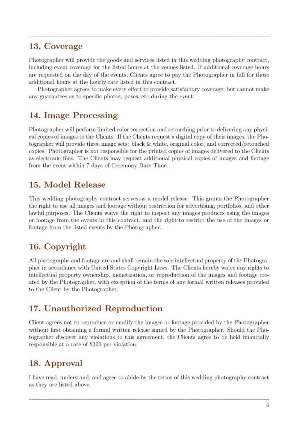 002 Magnificent Wedding Photographer Contract Template Concept  Free Photography UkLarge