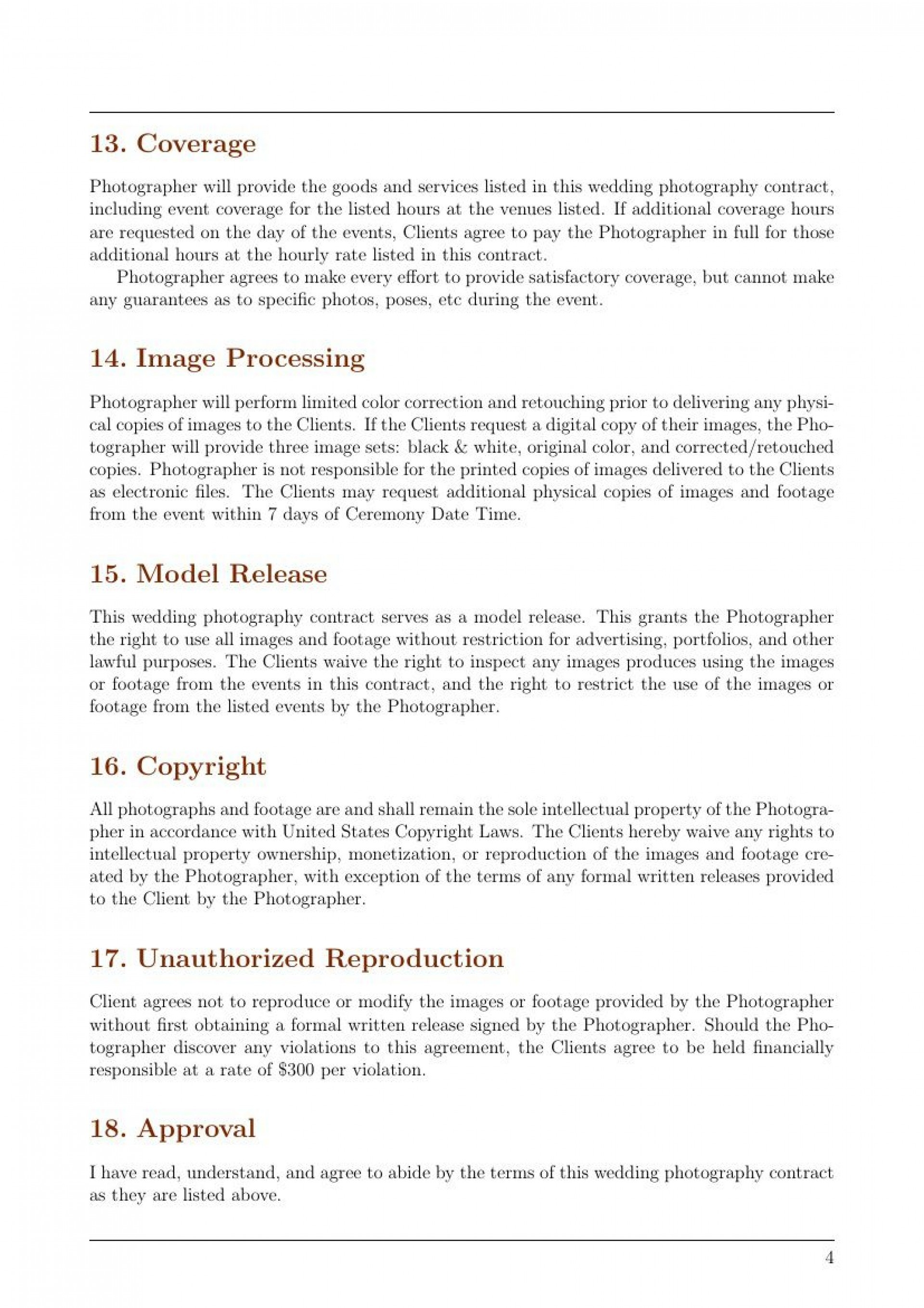 002 Magnificent Wedding Photographer Contract Template Concept  Free Photography Uk1920