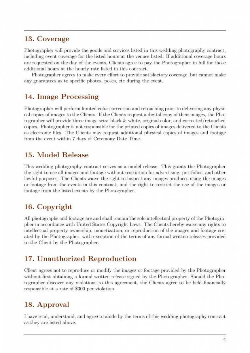 002 Magnificent Wedding Photographer Contract Template Concept  Uk Free Photography