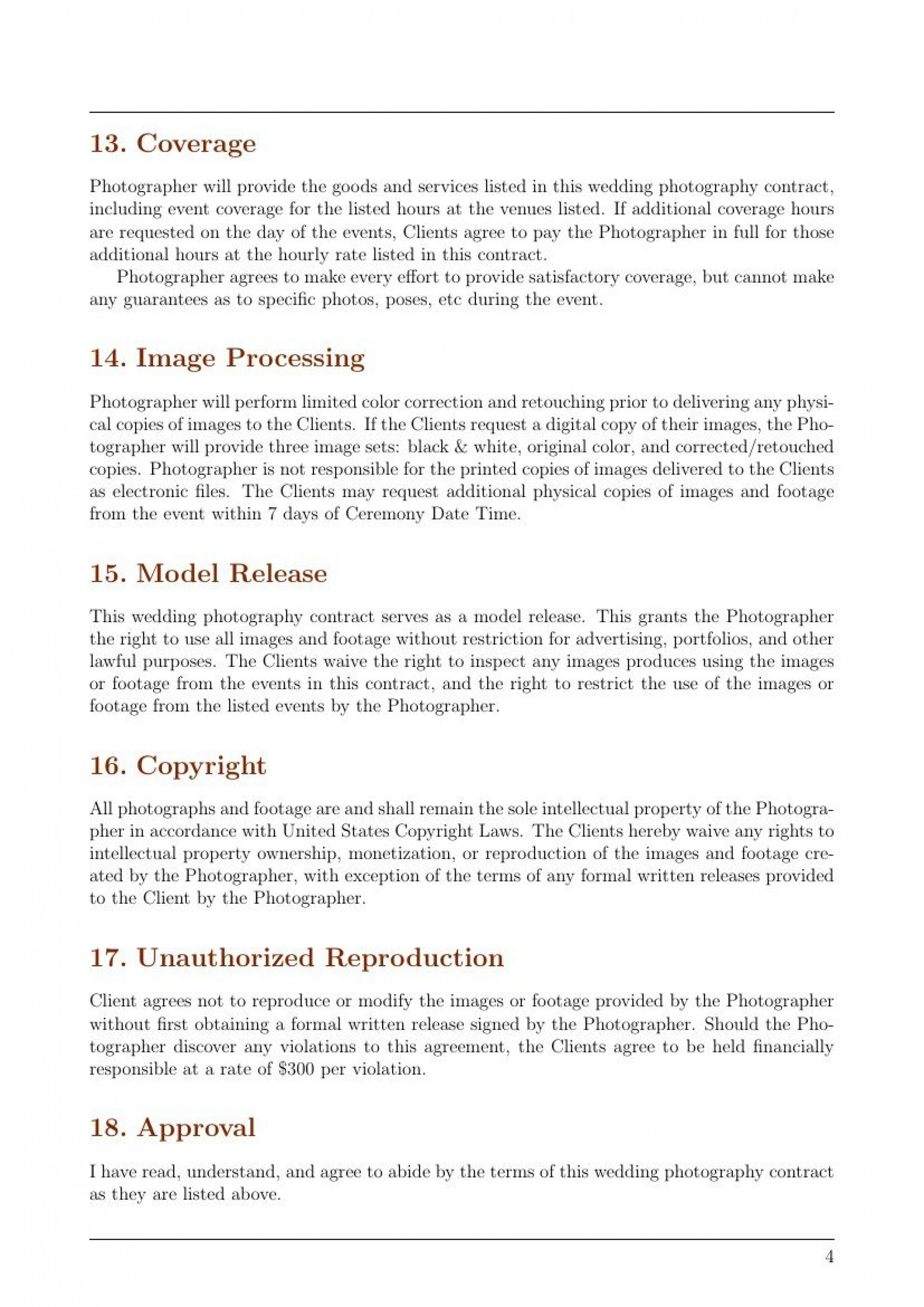 002 Magnificent Wedding Photographer Contract Template Concept  Free Photography UkFull