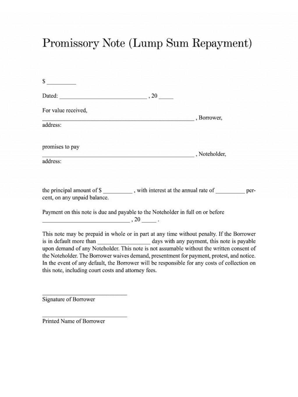 002 Marvelou Blank Promissory Note Template Idea  Form Free DownloadLarge