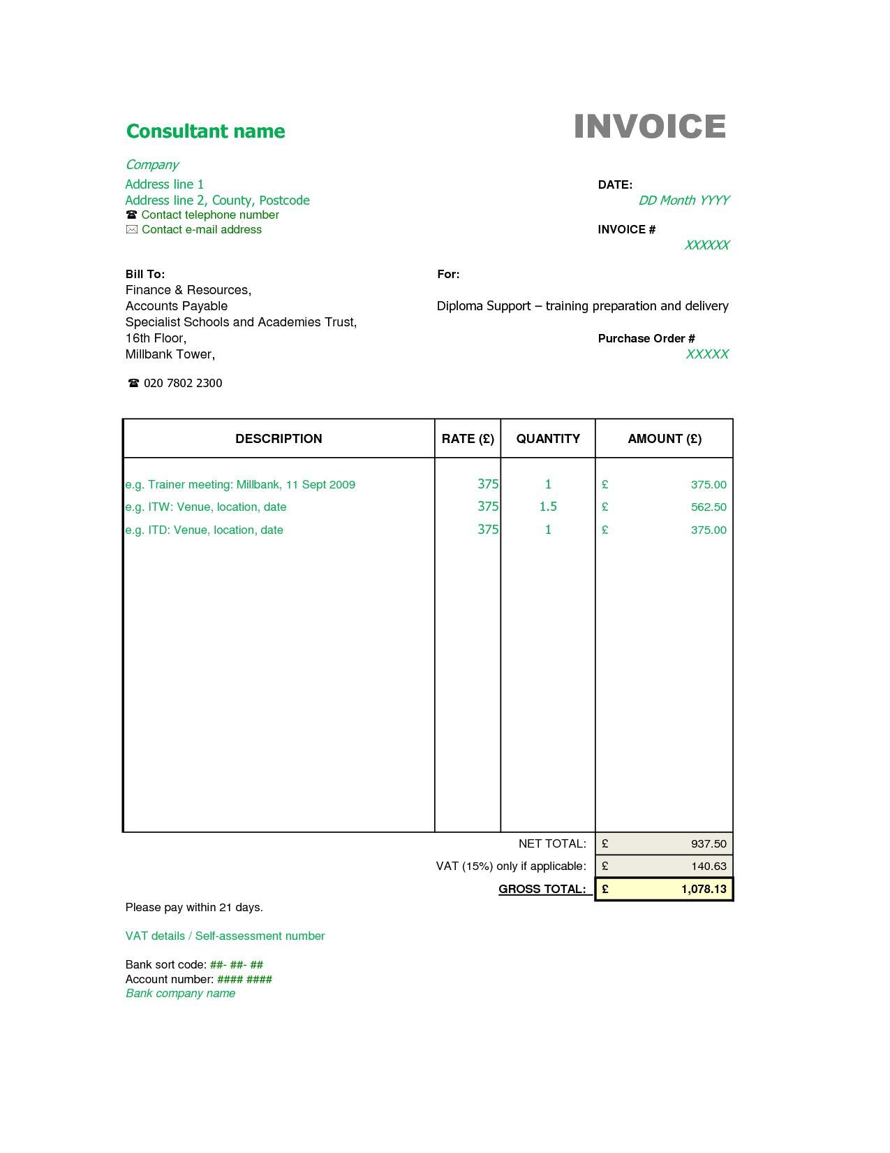 002 Marvelou Consulting Invoice Template Word Sample  Service Consultant Microsoft ContractorFull