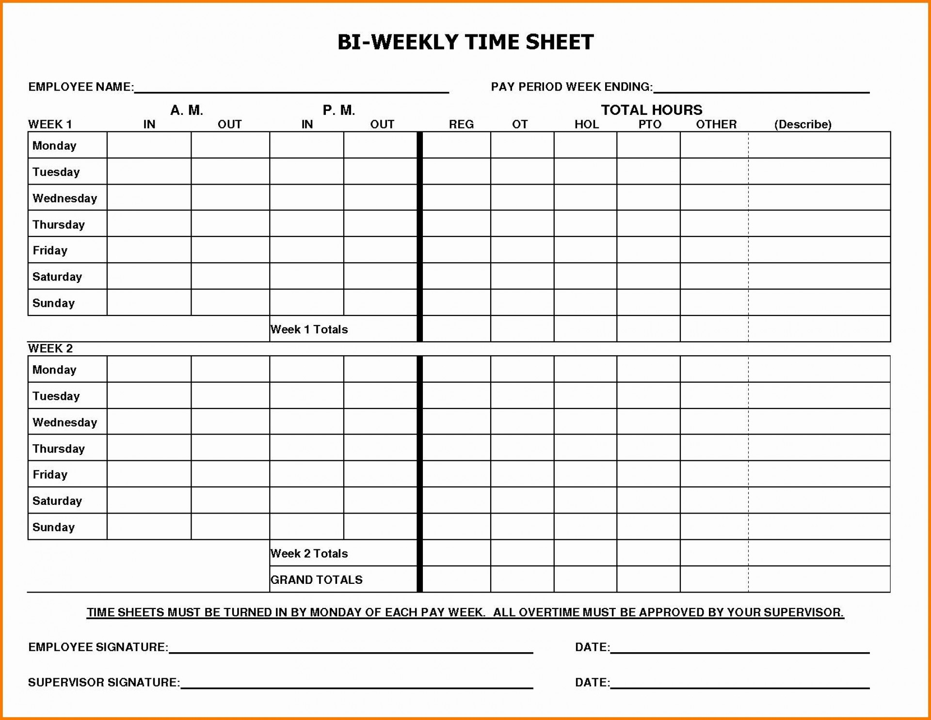 002 Marvelou Free Biweekly Timesheet Template High Definition  Bi Weekly Time Card Excel1920