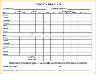 002 Marvelou Free Biweekly Timesheet Template High Definition  Excel Bi Weekly Time Card320