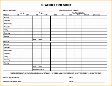 002 Marvelou Free Biweekly Timesheet Template High Definition  Bi Weekly Time Card Excel360