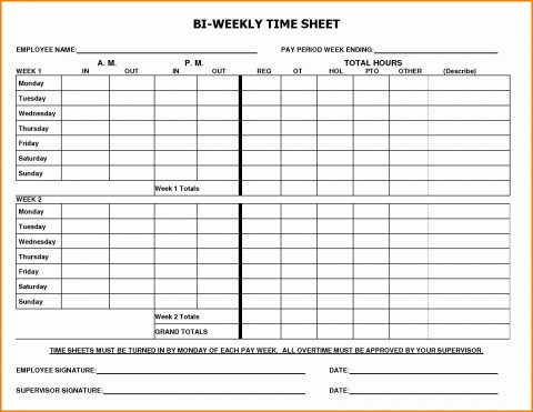 002 Marvelou Free Biweekly Timesheet Template High Definition  Bi Weekly Time Card Excel480