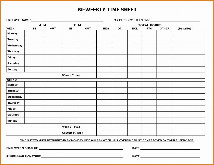 002 Marvelou Free Biweekly Timesheet Template High Definition  Excel Bi Weekly Time Card728