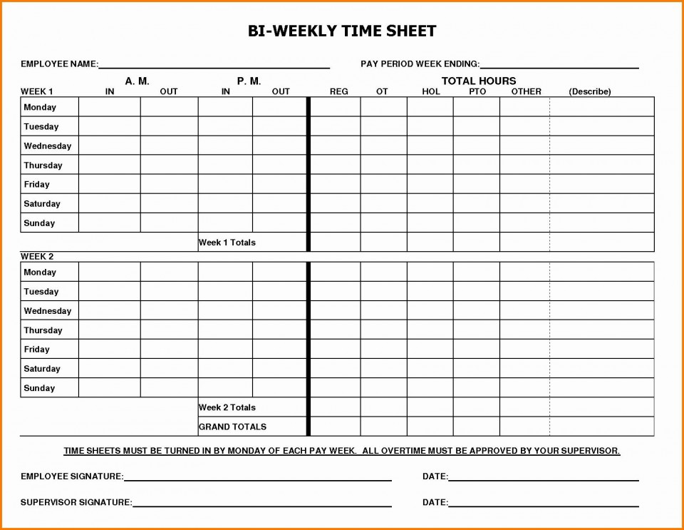 002 Marvelou Free Biweekly Timesheet Template High Definition  Bi Weekly Time Card Excel960