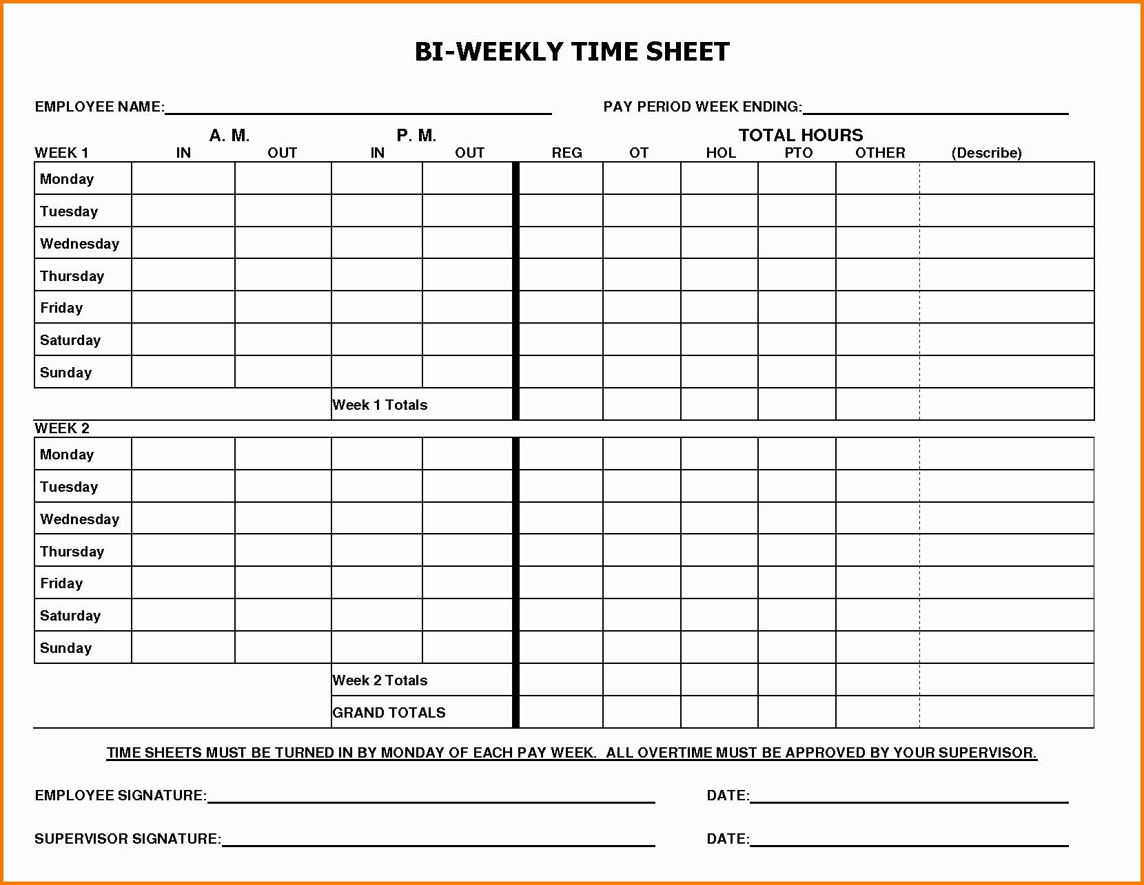 002 Marvelou Free Biweekly Timesheet Template High Definition  Bi Weekly Time Card ExcelFull