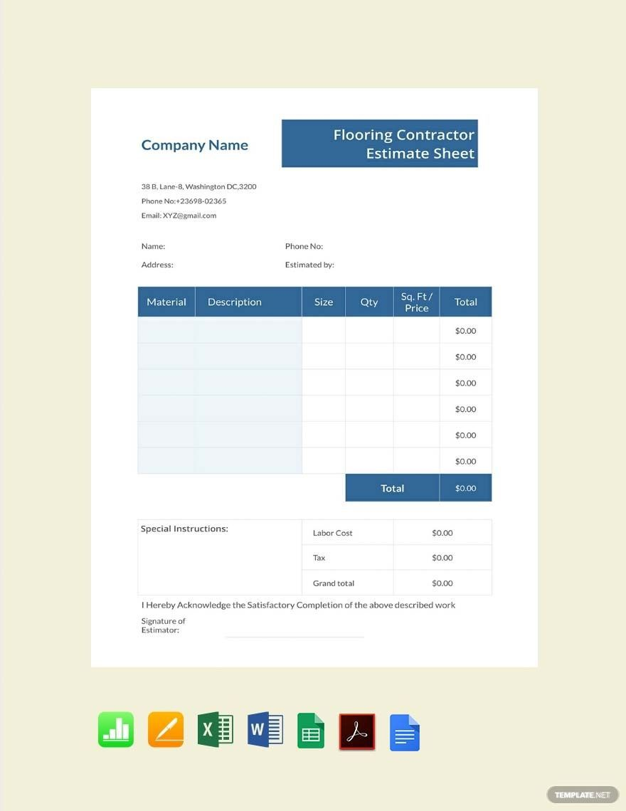 002 Marvelou Free Construction Estimate Template For Mac Photo Full