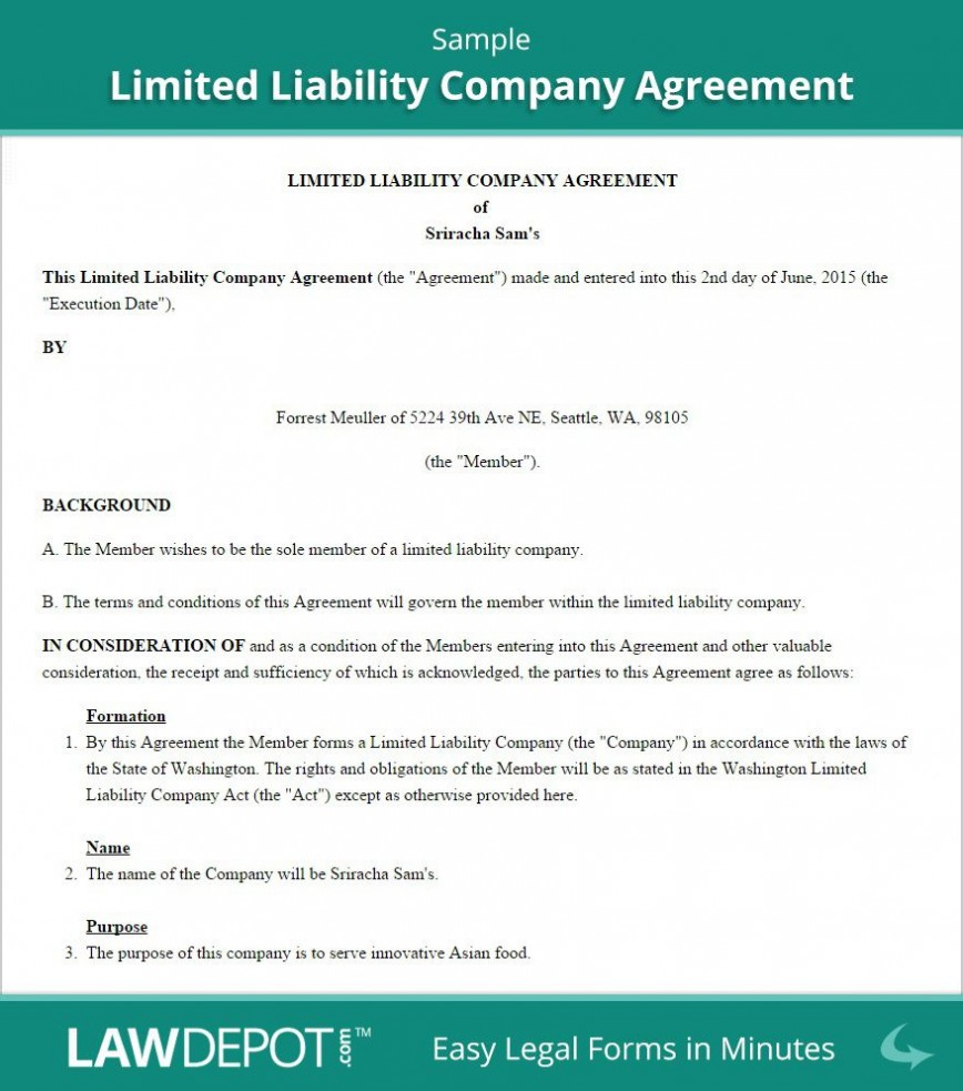 002 Marvelou Free Operating Agreement Template Picture  For Multi Member Llc Pdf Word