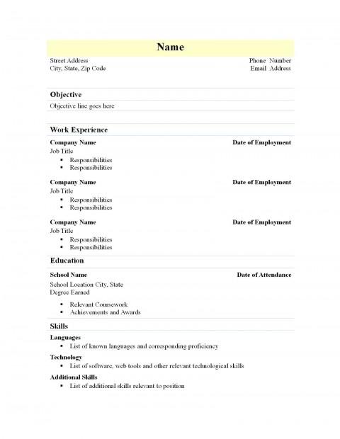002 Marvelou Free Simple Resume Template Microsoft Word Idea 480
