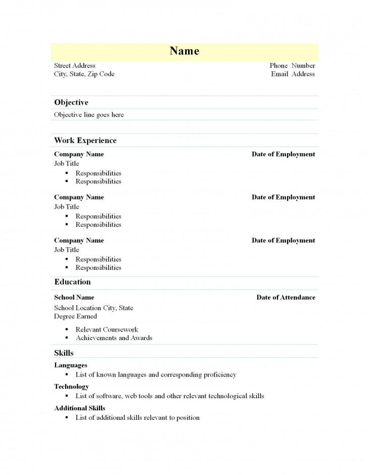 002 Marvelou Free Simple Resume Template Microsoft Word Idea 728