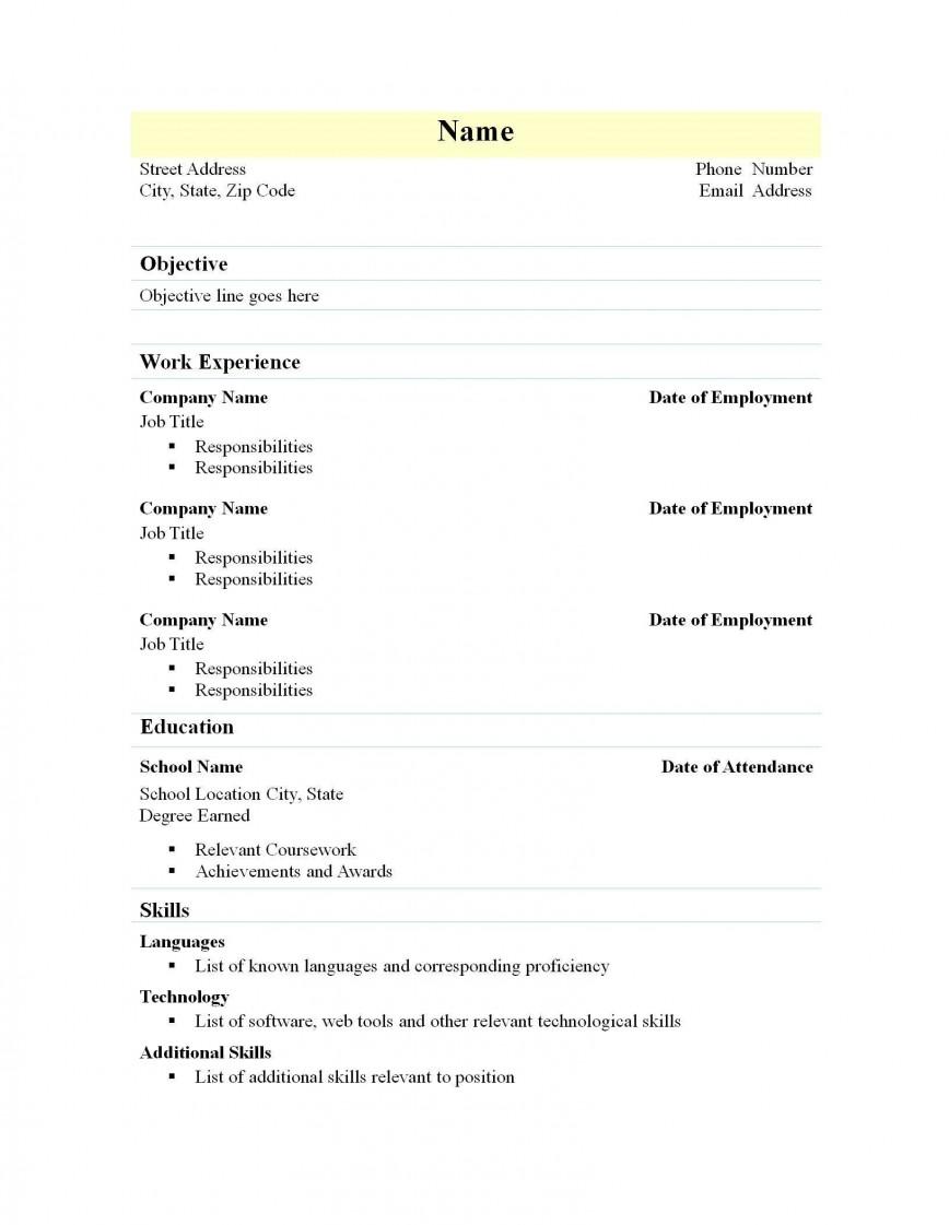 002 Marvelou Free Simple Resume Template Microsoft Word Idea 868