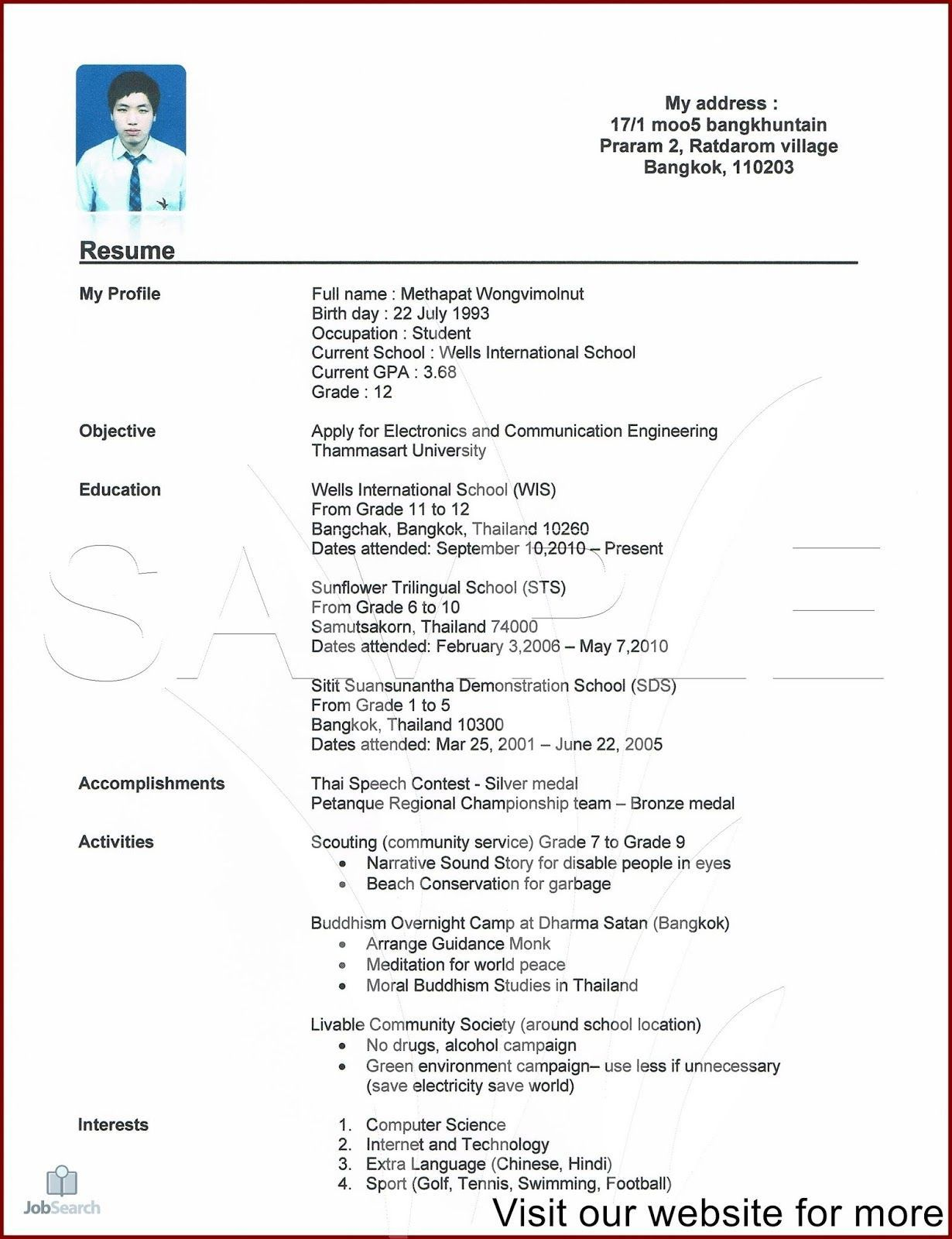 002 Marvelou Free Student Resume Template Download Photo  WordFull