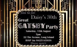 002 Marvelou Great Gatsby Invitation Template Concept  Templates Free Download Blank