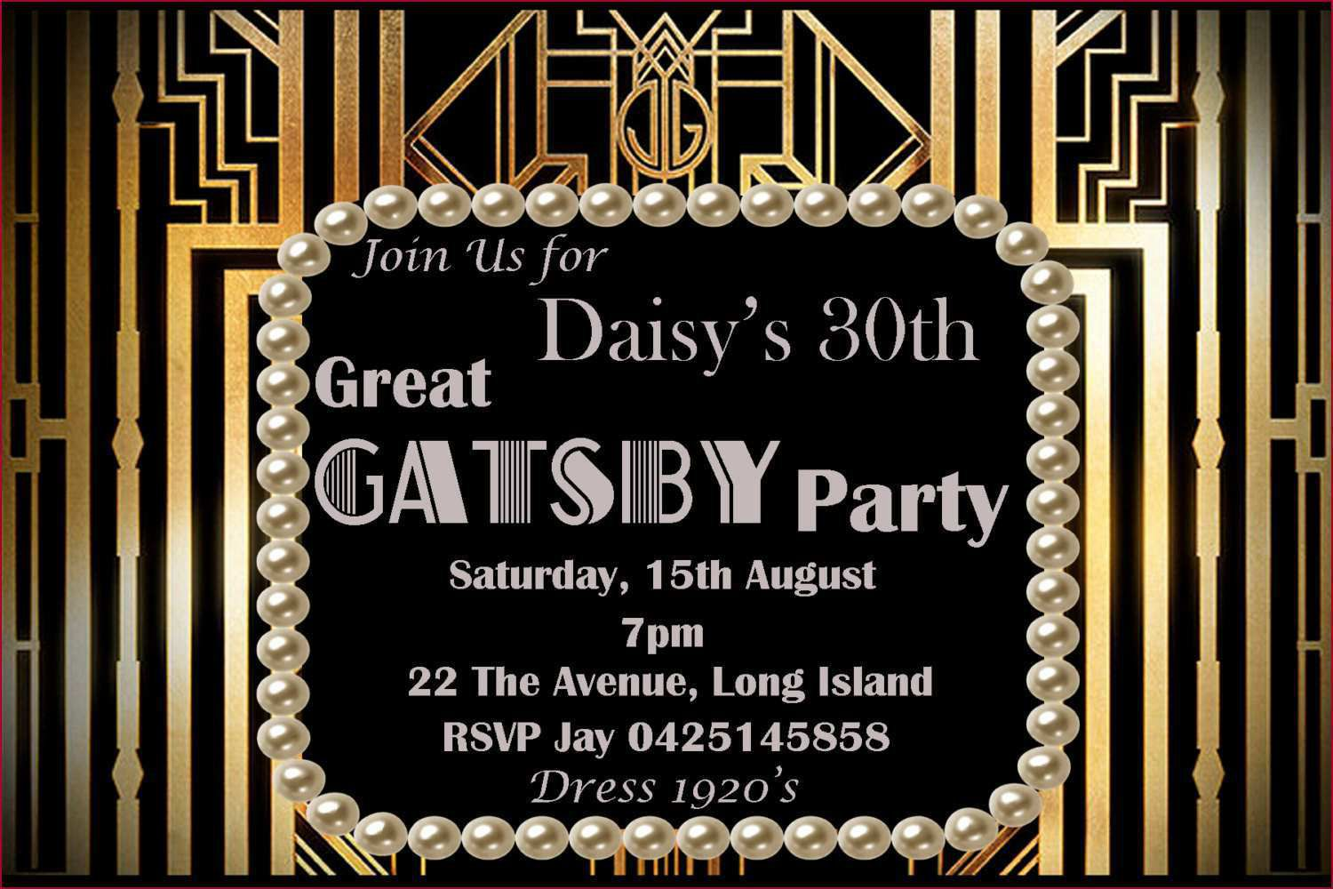 002 Marvelou Great Gatsby Invitation Template Concept  Templates Free Download BlankFull