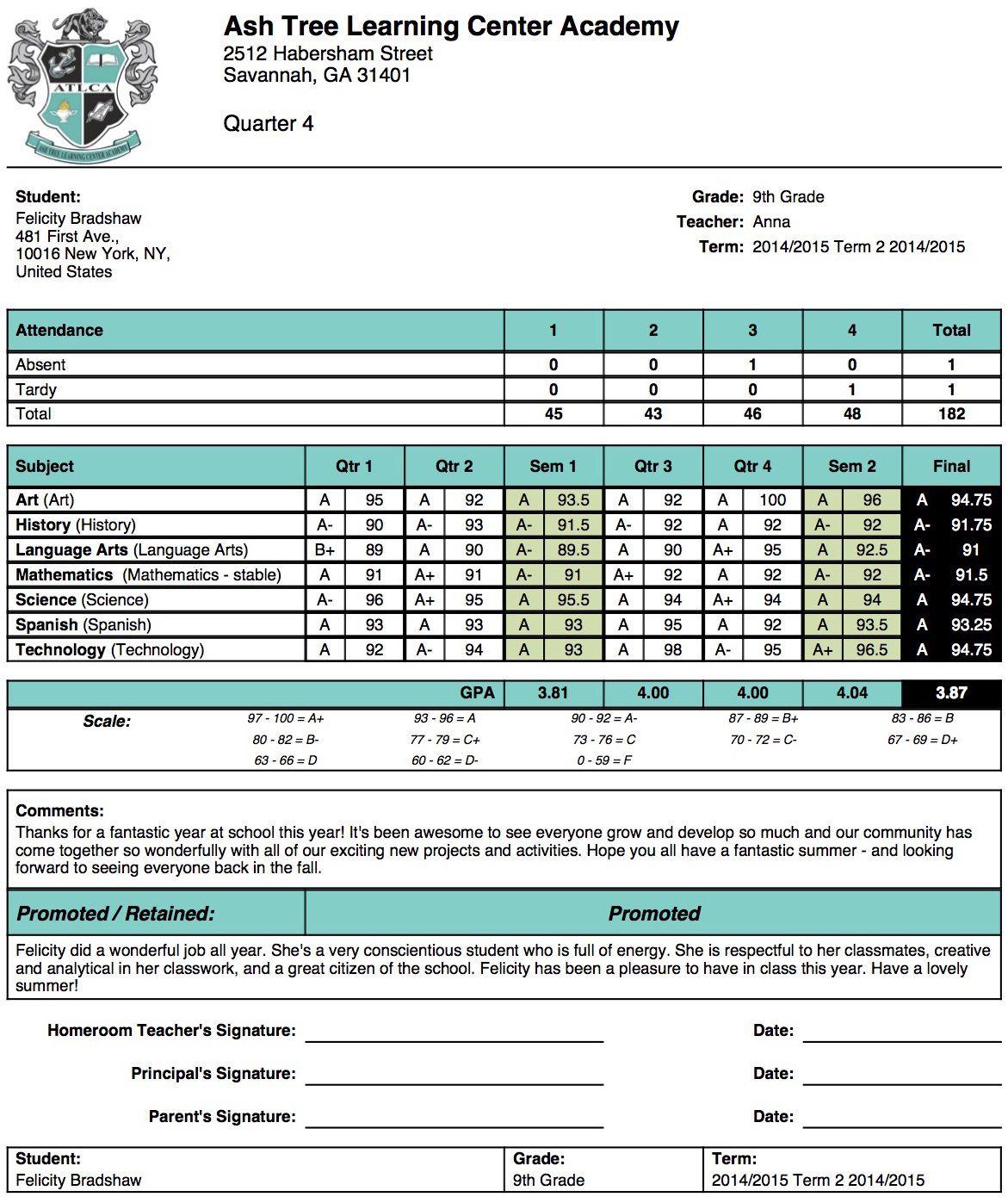 002 Marvelou Junior High School Report Card Template Design Full