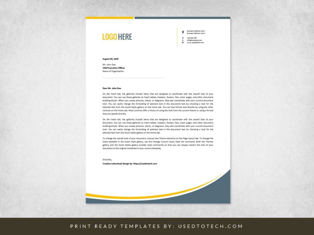 002 Marvelou Letterhead Template Free Download Doc Example  Company FormatLarge