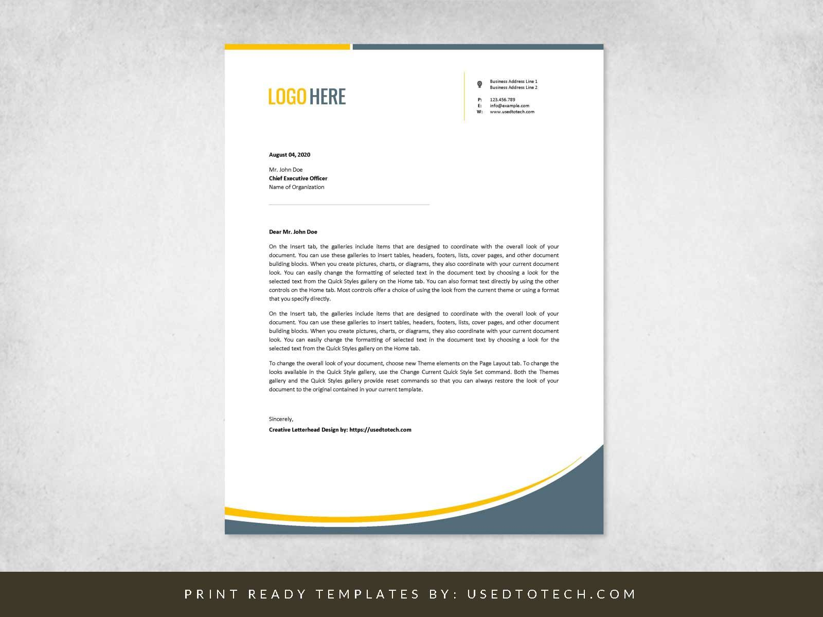 002 Marvelou Letterhead Template Free Download Doc Example  Company Format DoctorFull