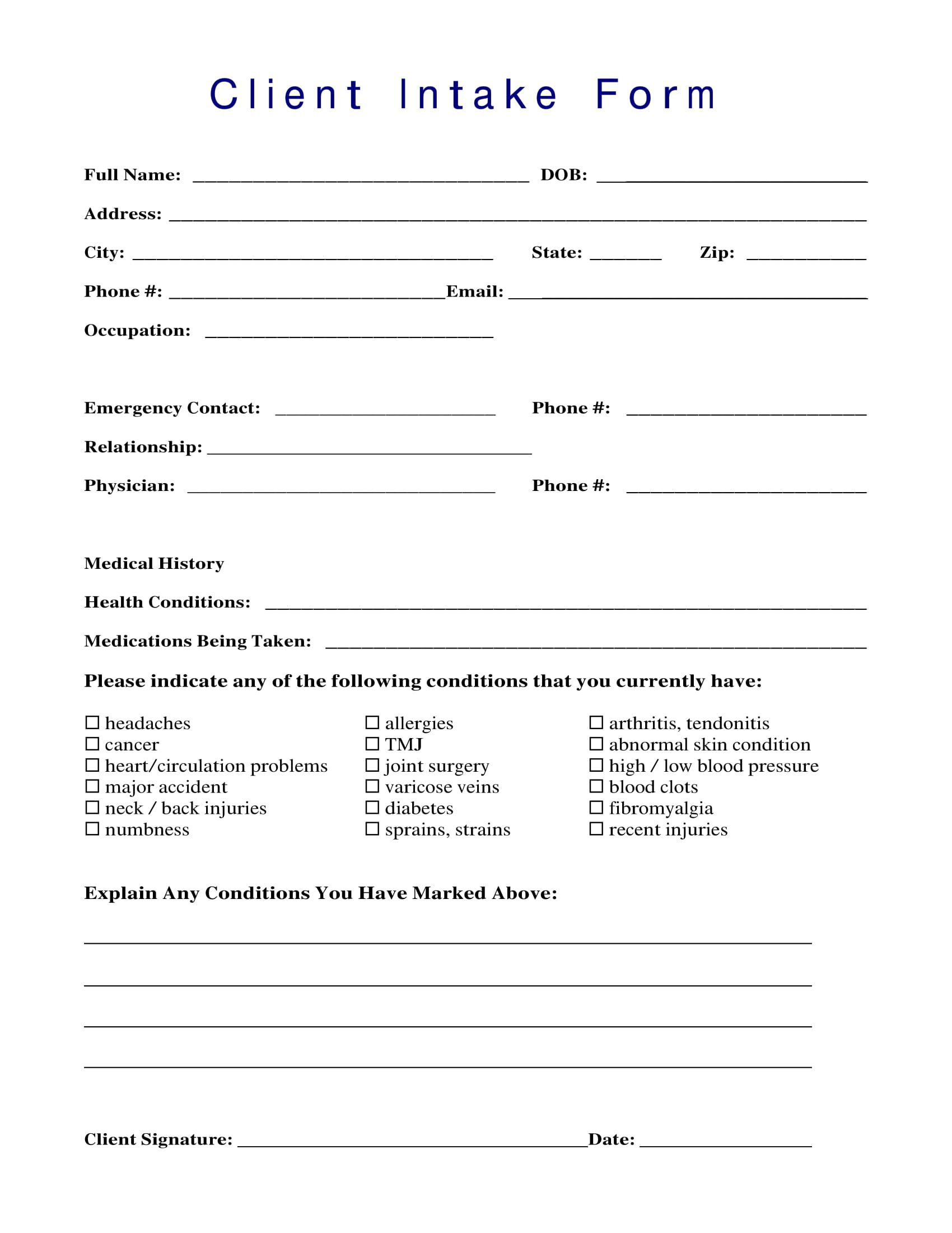 002 Marvelou Patient Intake Form Template Design  Word Client Excel PdfFull