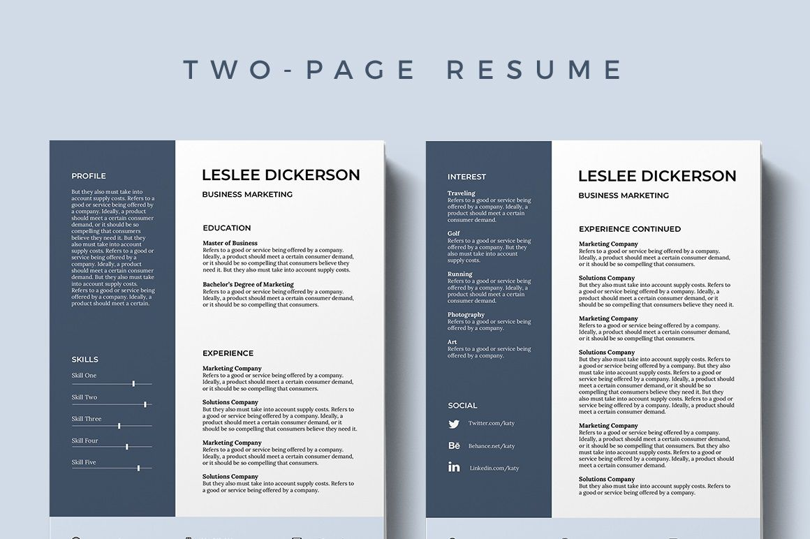 002 Marvelou Professional Resume Template 2019 Free Download High Definition  CvFull
