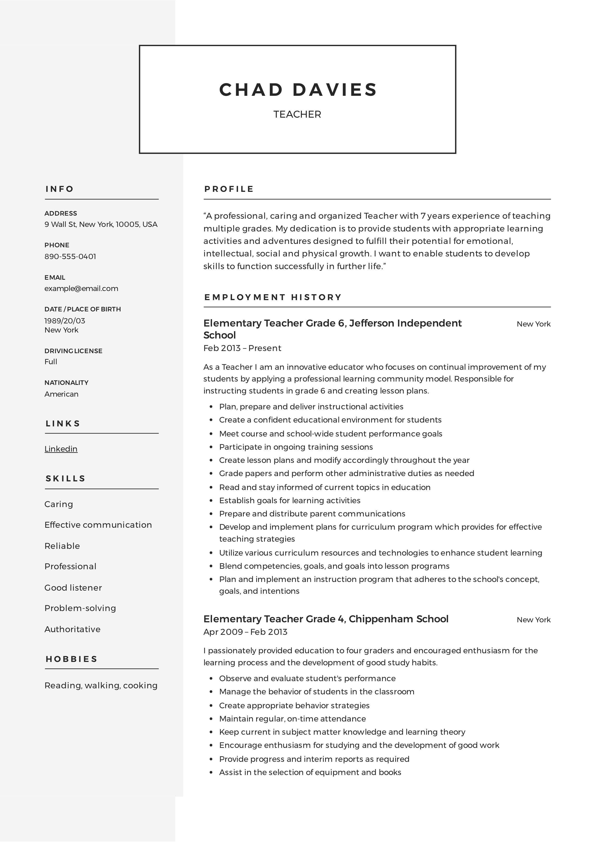 002 Marvelou Resume Example For Teaching Concept  Sample Position In College Teacher School Principal IndiaFull