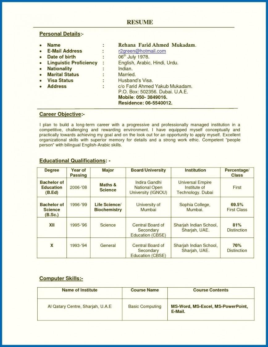 002 Marvelou Resume Sample For Teaching Job In India High Definition  Fresher