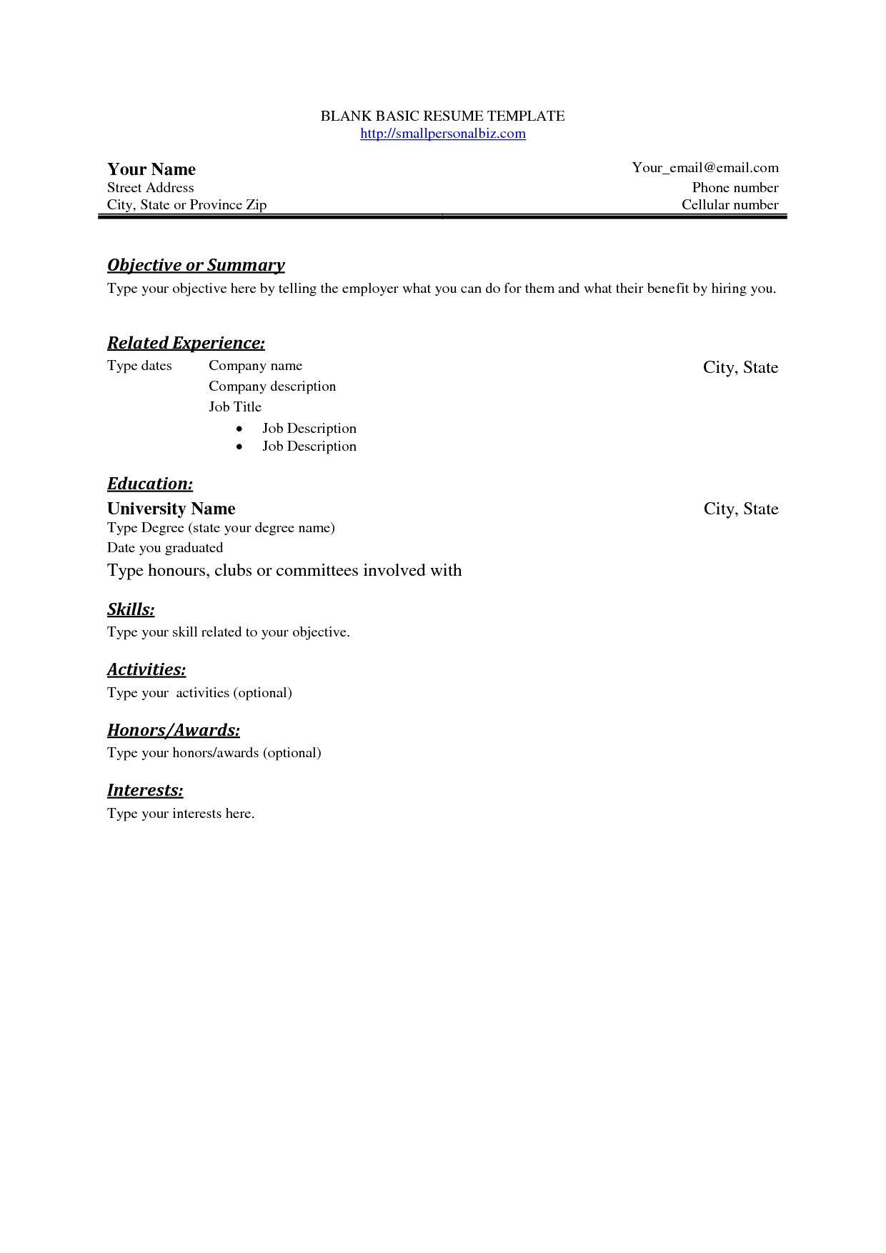 Simple Resume Template Free Addictionary