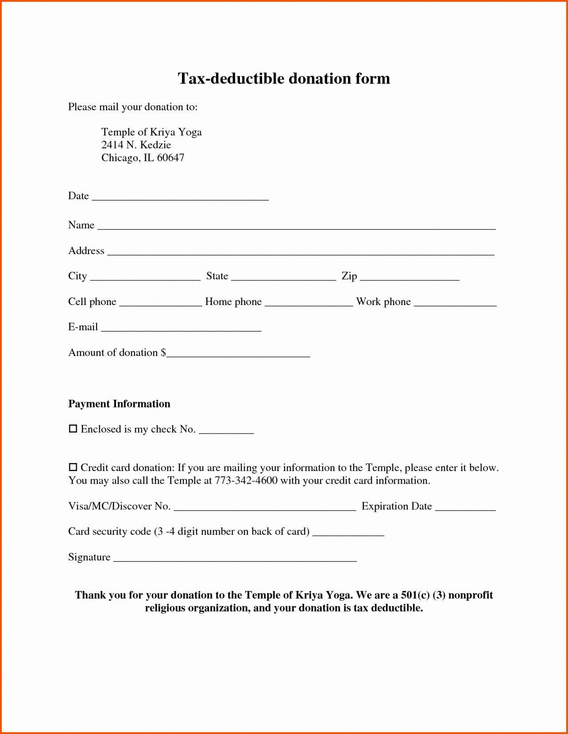 002 Marvelou Tax Deductible Donation Receipt Printable Example 1920