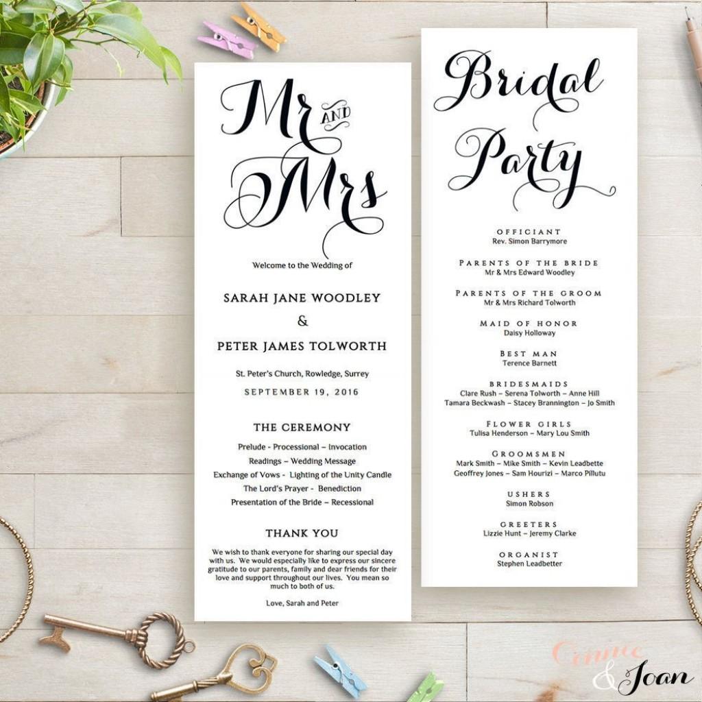 002 Marvelou Wedding Order Of Service Template Photo  Pdf Publisher Microsoft WordLarge