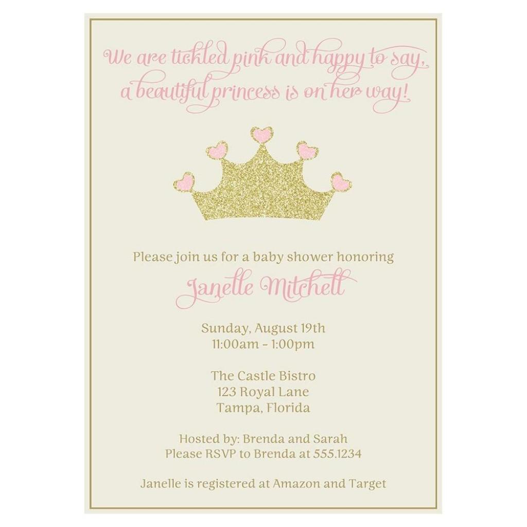 002 Outstanding Baby Shower Invitation Girl Princes Image  Princess ThemeLarge