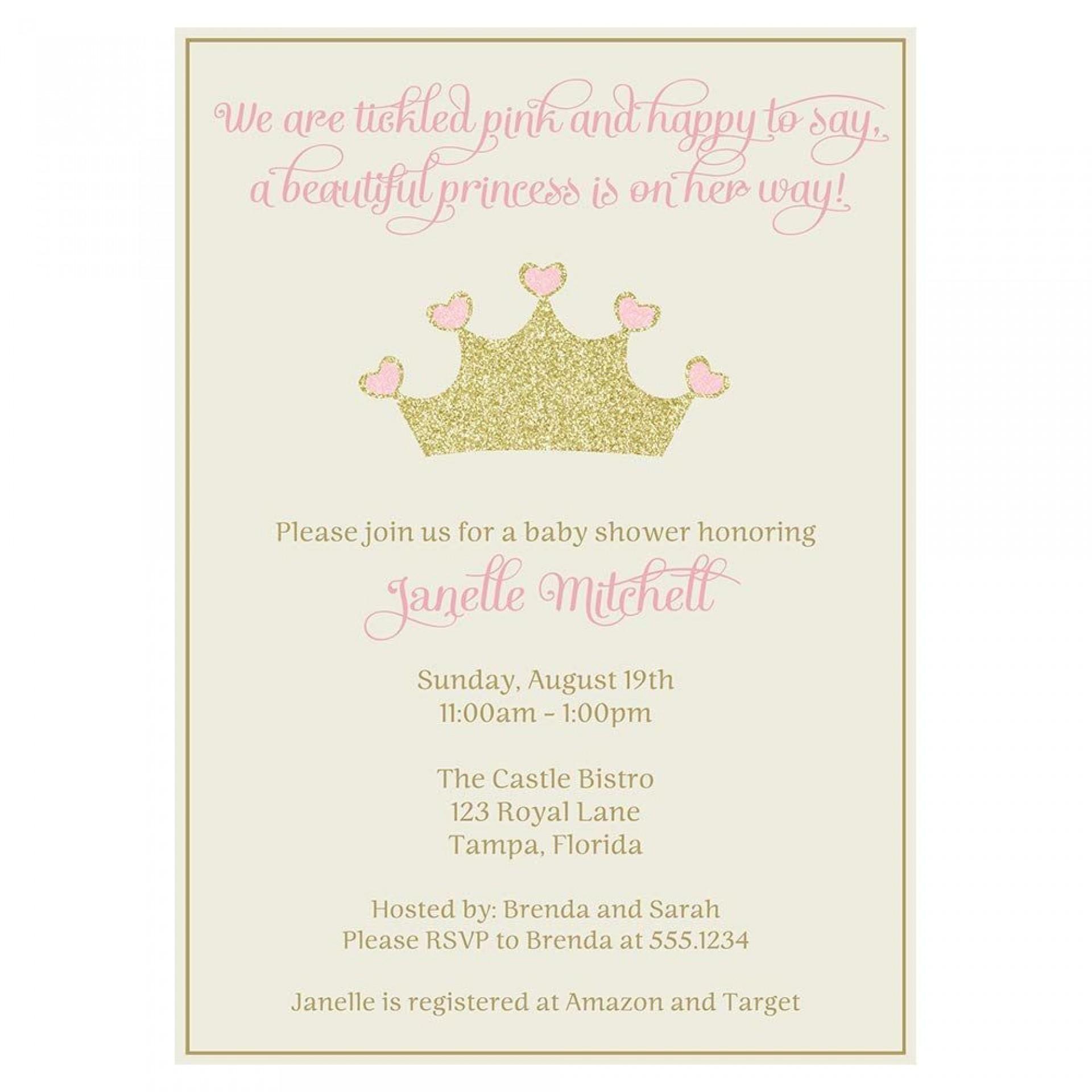 002 Outstanding Baby Shower Invitation Girl Princes Image  Princess Theme1920