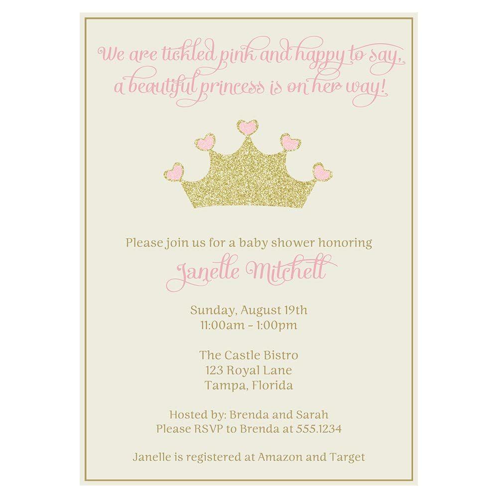 002 Outstanding Baby Shower Invitation Girl Princes Image  Princess ThemeFull