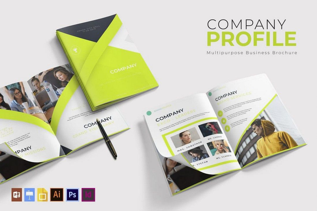 002 Outstanding Busines Brochure Design Template Free Download Sample Full