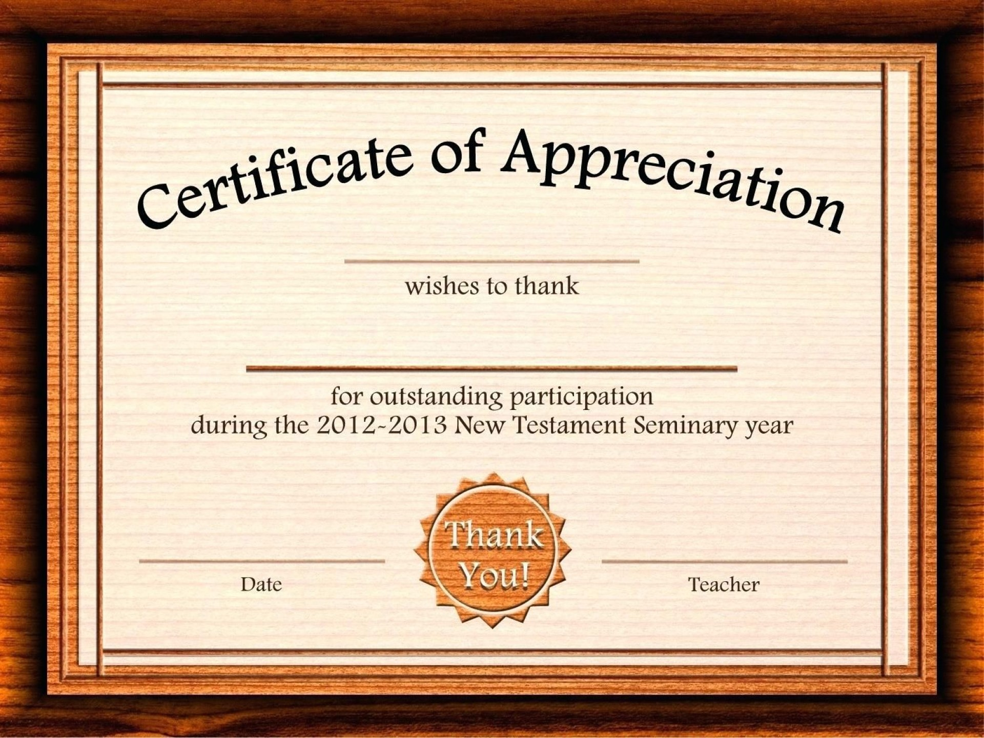 002 Outstanding Certificate Of Appreciation Template Free Design  Microsoft Word Download Publisher Editable1920