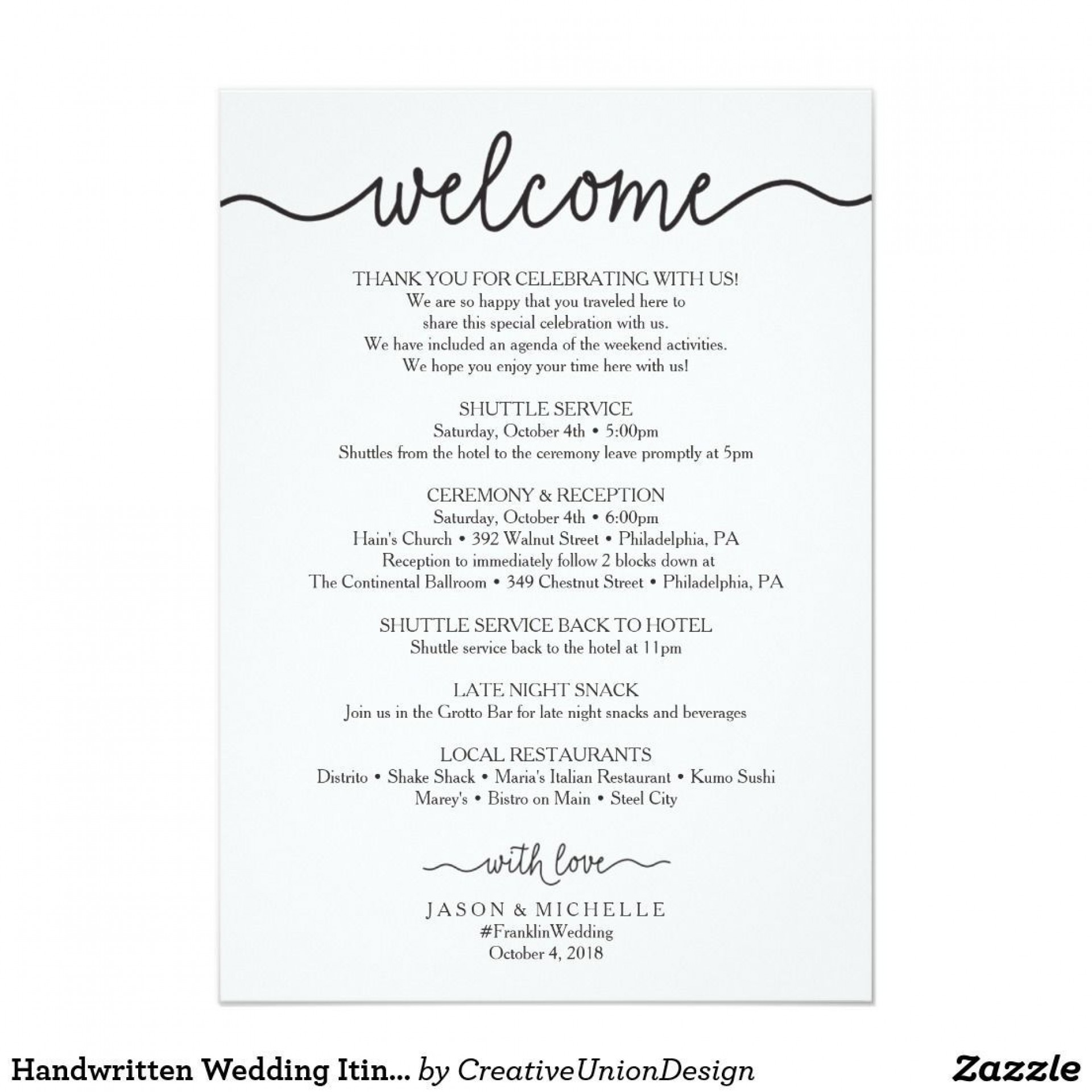 002 Outstanding Cruise Wedding Welcome Letter Template Photo 1920