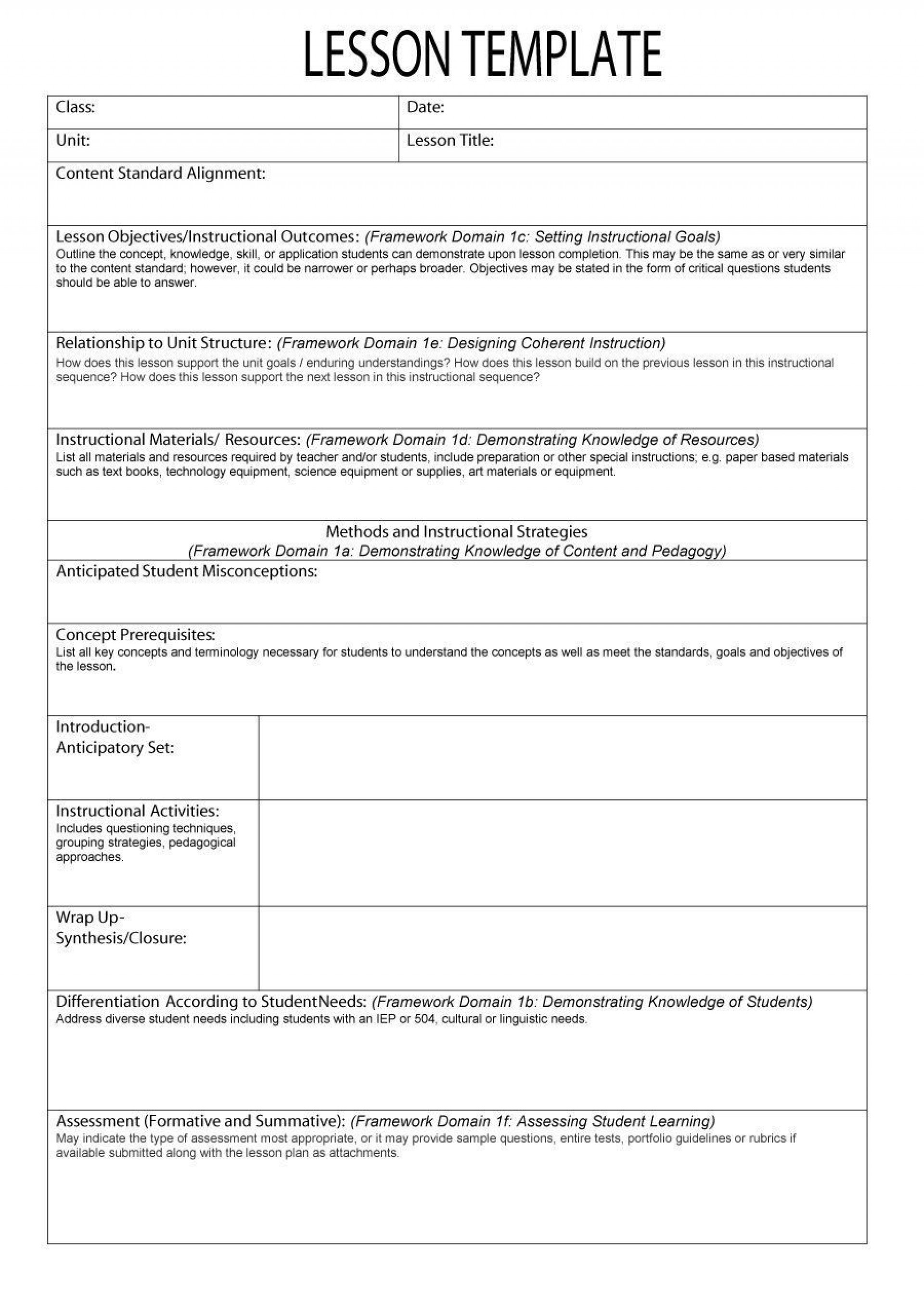 002 Outstanding Free Lesson Plan Template Photo  Templates Editable For Preschool Google Doc1920