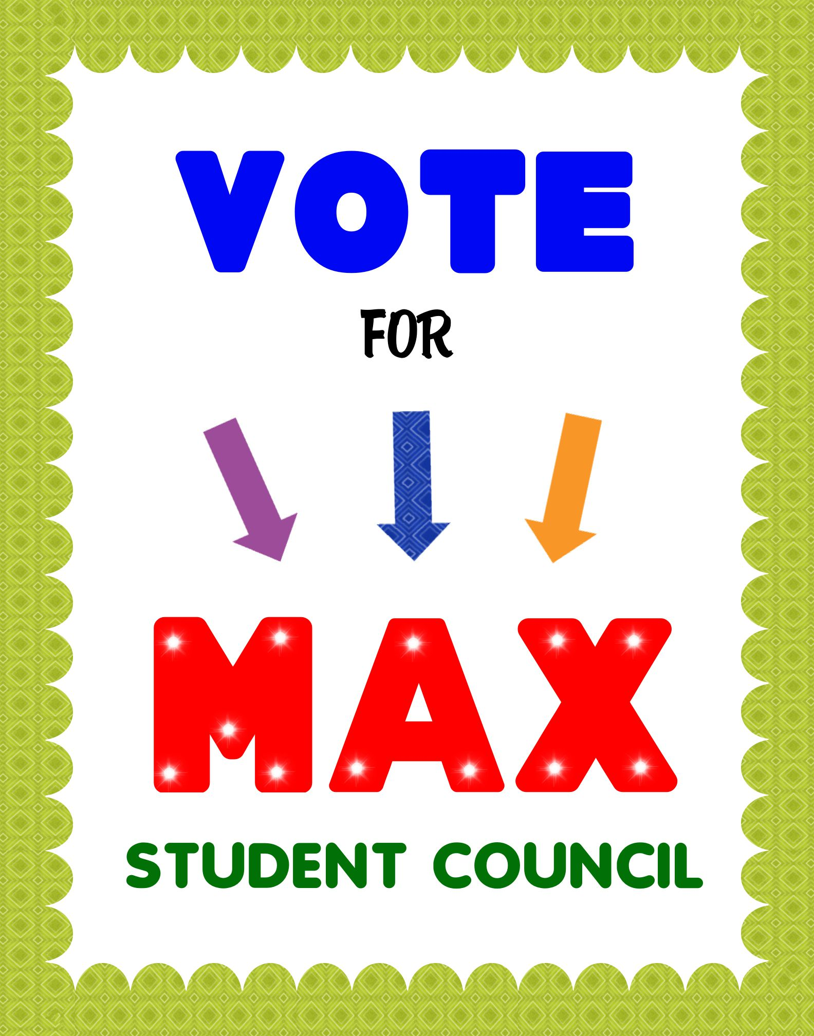 002 Outstanding Free Student Council Campaign Poster Template Sample Full