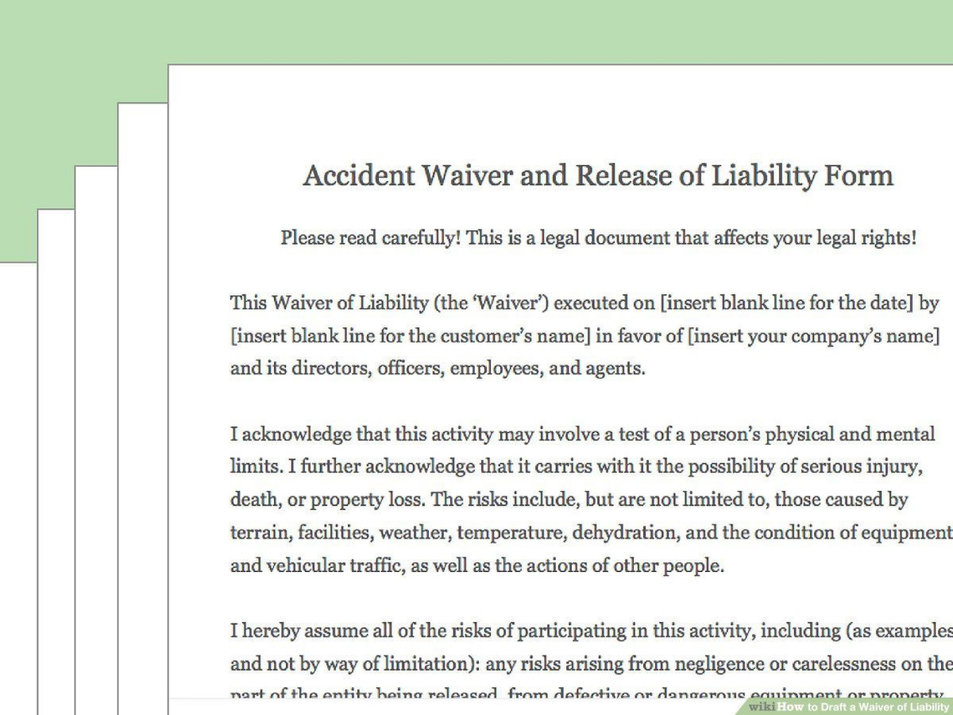 002 Outstanding Liability Release Form Template Sample  Free General1920