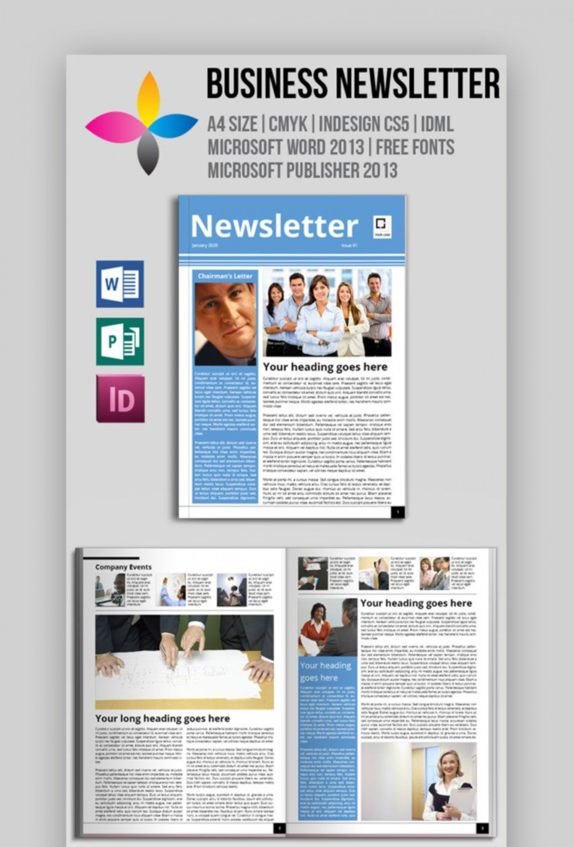 002 Outstanding Newsletter Template Microsoft Word High Resolution  Download Free Blank1920