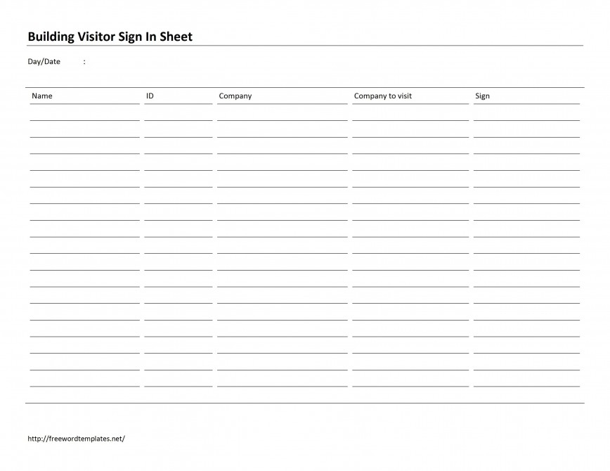 002 Outstanding Office Visitor Sign In Sheet Template Image 868