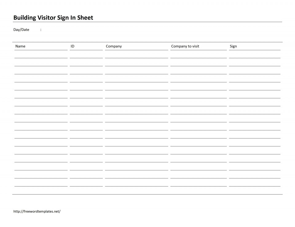 002 Outstanding Office Visitor Sign In Sheet Template Image 960